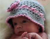 Crochet Baby Hat, Baby Girl, 0-3 months, Baby Cloche, Newborn Flower Hat, Lady Bug, Photo Prop, Grey, Pink,  Sweetness In Smyrna