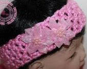 Baby Headband - Crochet Baby Headband - Crochet Headband - Pink - Silk Flowers - Newborn to 3 months - READY TO SHIP