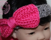 Baby Headband - Crochet Baby Headband - Crochet Headband - Grey - Hot Pink - Bling - Newborn to 3 months - READY TO SHIP