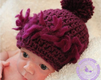 Purple Baby Beanie, Crochet Newborn Beanie, Super Soft with Pom Pom in Purple, 0 - 3 months, READY TO SHIP
