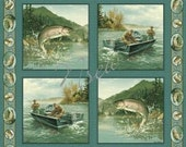 Fish Trout COTTON Fabric Panels for Quilt & pillows by Artist Hautman