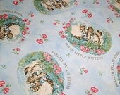 Beatrix Potter 3 Little Kittens Cotton Quilting Fabric Nursery Blue BTY