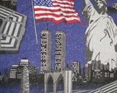 September 9 11 Twin Towers Fabric Pentagon Statue of Liberty American Flag - Treasury Item