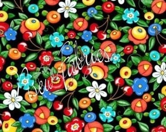 Rare Mary Engelbreit Flower Fabric Fried EGGS & RED Cherry on Black - Bloom where you are Planted OOP