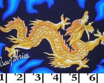 Golden DRAGON Fabric Oriential Blue FLAMES