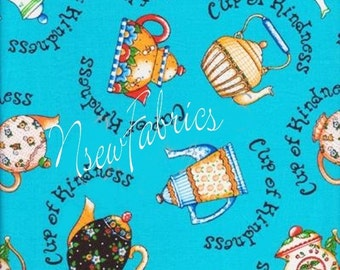 Mary Engelbreit Fabric Tea Pot TeaPots Cup of Kindness - Large on Blue