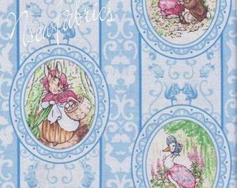Beatrix Potter Fabric Benjamin Bunny Victorian CAMEOs on Blue