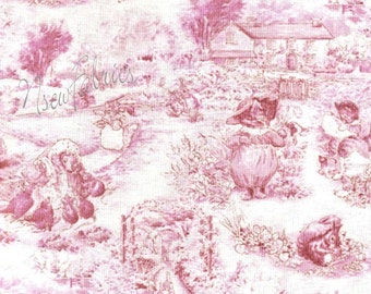 Beatrix Potter Fabric Peter Rabbit Tom Kitten Scenic TOILE Pink Alphabet Garden