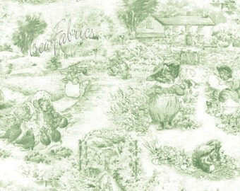Beatrix Potter TOILE Fabric 3 Little Kittens Alphabet Garden Sage