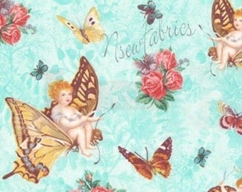 Fairy Angel Fabric Butterfly & Roses on Blue