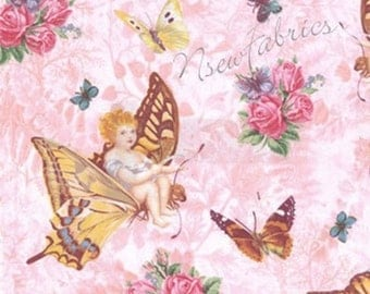 Fairy Angel Fabric Butterfly & Roses on Pink