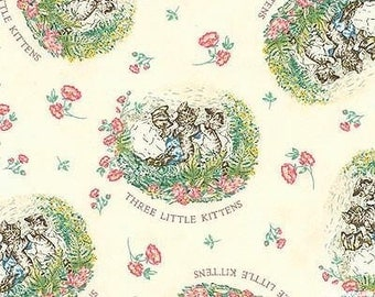 Beatrix Potter 3 Little Kittens Cotton Quilting Fabric Nursery White BTY