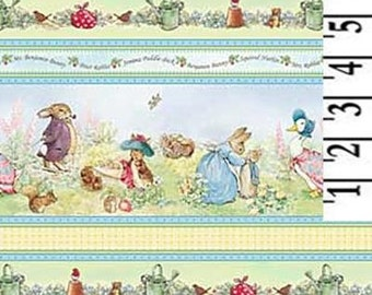 Beatrix Potter Fabric Peter Rabbit Benjamin Bunny Cotton Victorian Nursery Border Stripes """"