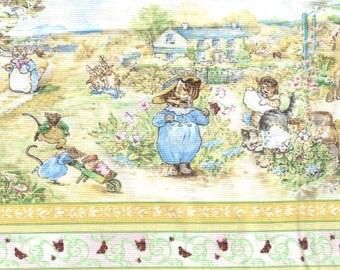 Beatrix Potter Fabric Tom Kitten 3 Little Kittens Cat Mouse Nursery White Border Stripe