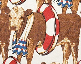 Patriotic COW Fabric / Cows at a Pool Party / Towel & Life Preserver