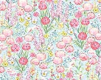 Beatrix Potter Fabric Benjamin Bunny Peter Rabbit Flopsy Bunnies Flower Garden BLENDER - OOP - VHTF - Treasury Item