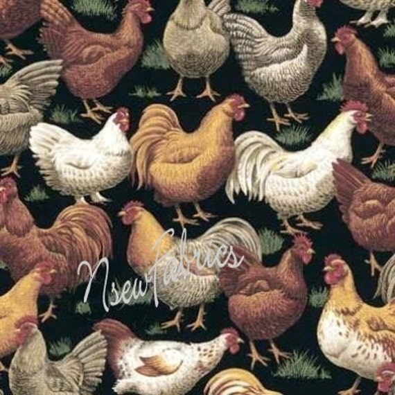 Hens Chicken Rooster Cotton Fabric On Black
