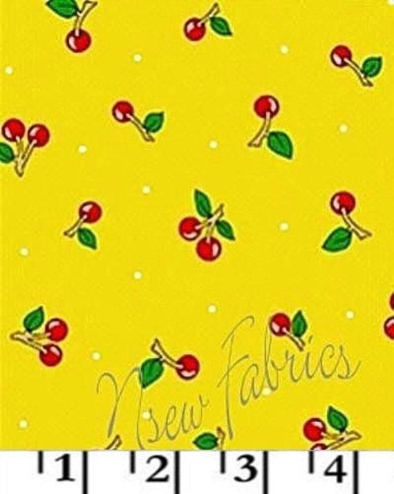 Mary Engelbreit Fabric BIG RED Cherry on YeLLoW Cotton