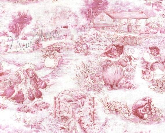 Beatrix Potter Fabric Pink Toile Tom Kitten Peter Rabbit Miss Moppet Mrs Tiggy Winkle Tommy Willie Squirrel Nutkin Mittens Tabby Kitten