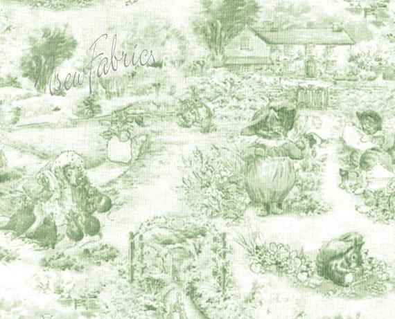 Beatrix Potter Fabric TOILE Licensed 3 Little Kittens Alphabet Garden Sage