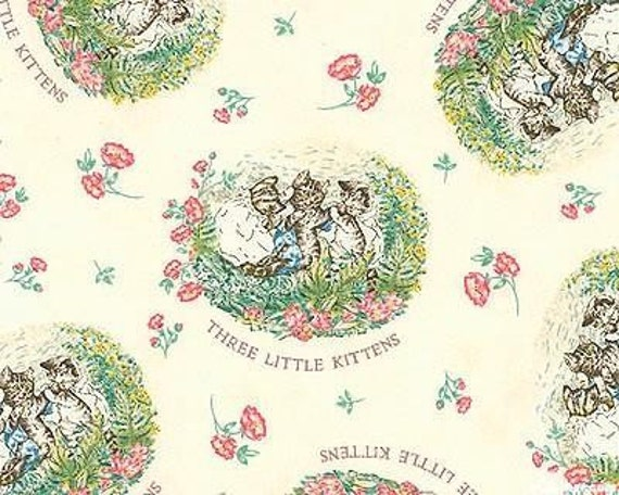 Beatrix Potter Fabric 3 Little Kittens Cotton Quilting Nursery White