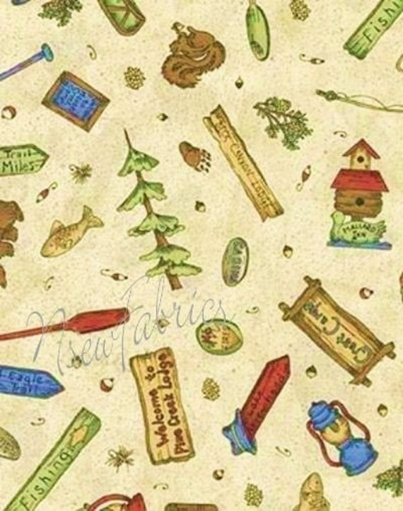Rustic lodge fabric camping fishing hunting cotton quilt for Fishing themed fabric