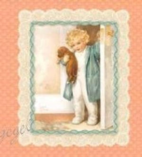 Bessie Pease Gutmann Fabric Vintage Children Dogs Quilt Blocks Panel on Peach -- 4 Different Pictures