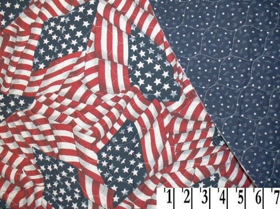 Pre Quilted FABRIC American Flag & Stars Double Sided - 23 X 45 - Last Piece