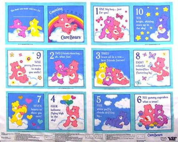 "Care Bear Fabric Quilt blocks 8.5"" or Soft Book - Soft storybook - child's quiet book - fabric - panel - Baby Christmas // Birthday Gift"