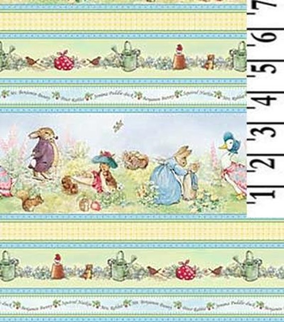 Beatrix Potter Peter Rabbit Cotton Fabric Victorian Nursery Border Stripes BTY