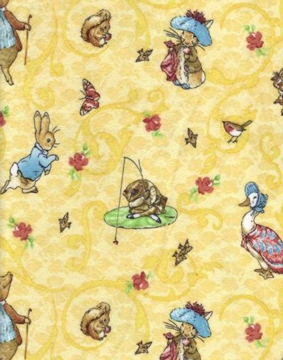 Beatrix Potter Peter Rabbit Fabric Micro Fleece Yellow