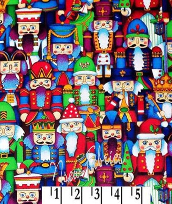 Christmas TOY SOLDIER NUTCRACKERS - Cotton Holiday Fabric