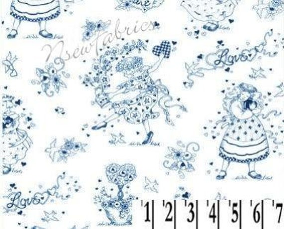 MaRy EngelBrEiT FaBriC Sweetheart TOILE BLUE on White
