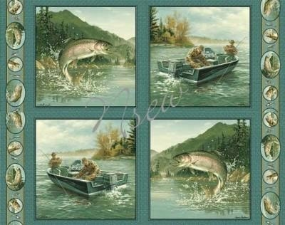 Fish trout cotton fabric panels for quilt pillows by artist for Bass fishing yard sale