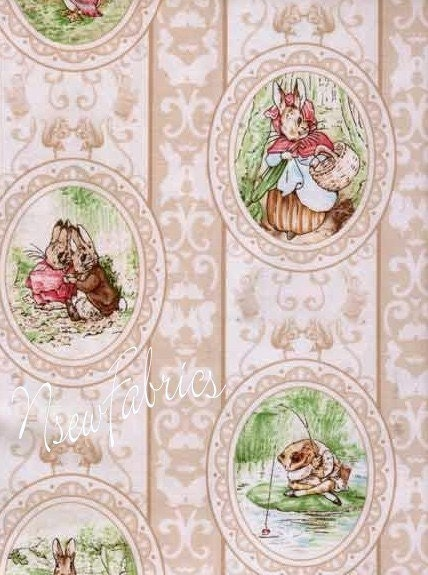 Beatrix Potter Fabric Peter Rabbit Victorian Cameos On