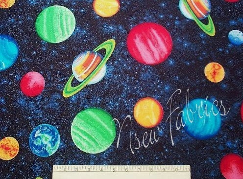 Space planets fabric galaxy star moon kids quilt craft for Space themed fleece fabric
