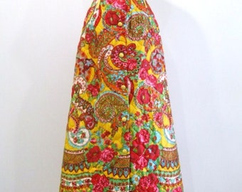 Quilted Maxi Skirt in Paisley - M