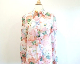 1970s Floral Shirt Vintage 70s Long Sleeve Blouse - L