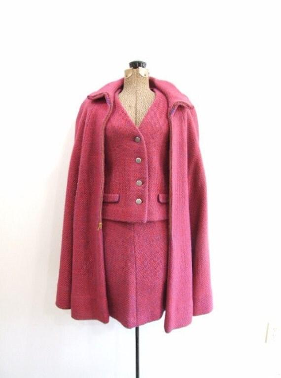 Vintage Wool Suit With Cape Pink Suit On Sale Xs S