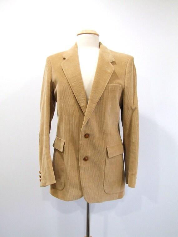 Mens Corduroy Blazer Vintage Tan Sport Coat with Elbow Patches - M