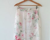 80's soft pink floral print skirt.