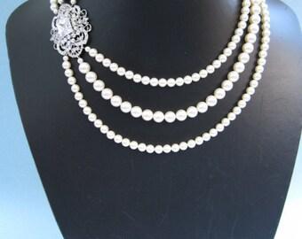 Wedding jewelry 1920's bridal necklace wedding accessories Swarovski pearl Necklace bridal jewelry wedding necklace bridal accessories
