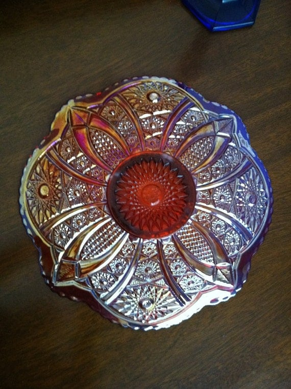 Indiana Glass Heirloom Ruby Red Carnival Plate