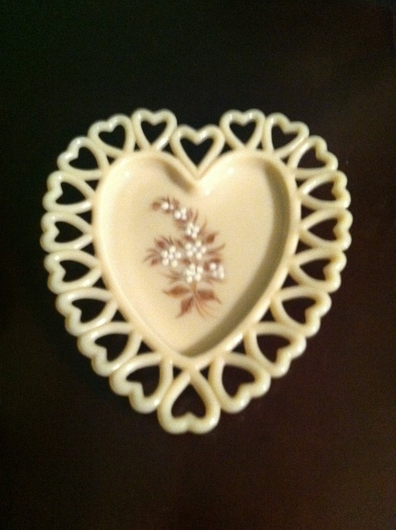 Westmoreland Almond Milk Glass Heart Tray with Handpainted Design