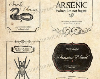 Vintage Halloween Apothecary Labels
