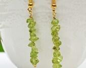 Olivine Chips Gold Dangle Earrings