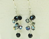 Black Glass and Crystal Dainty Dangle Earrings