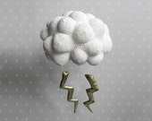 Nice storm-Cloud with lightning- crochet Mobile