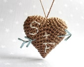 Heart and arrow personalized - Crochet brown heart with arrow and initials- Valentine heart