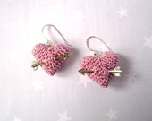 Spring Earrings crochet Pastel Pink heart and silver arrow. Silver sterling earrings. Mother's day gift